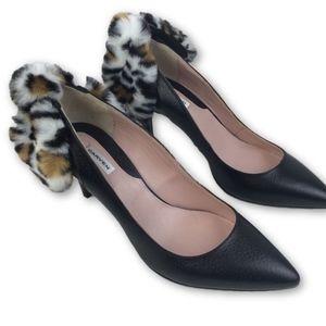 1c4a3dda6d5 Carven New Black Leather Shoes Pumps Faux Fur Bow